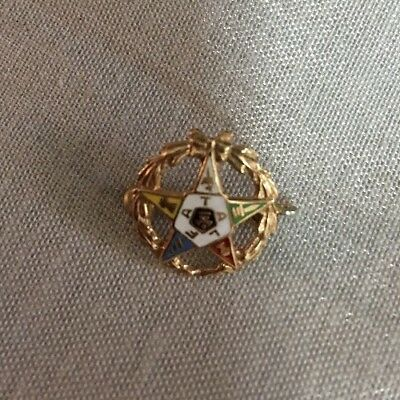 10K Top Yellow Gold Fatal Enamel Order Of The Eastern Star Small Pin Brooch
