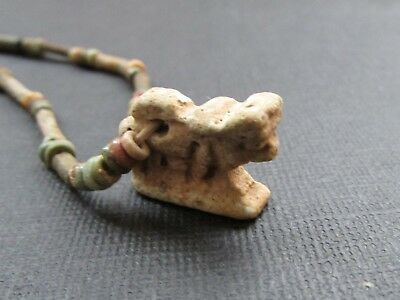 NILE  Ancient Egyptian Apis Bull Amulet Mummy Bead Necklace ca 600 BC