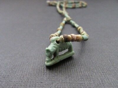 NILE  Ancien Egyptian Sow Amulet Mummy Bead Necklace ca 600 BC