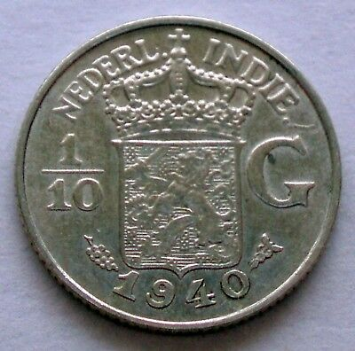 NETHERLANDS EAST INDIES 1/10 GULDEN 1940 Silver E16.3