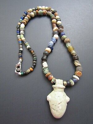 NILE  Ancient Egyptian Heart Amulet Mummy Bead Necklace ca 300 BC