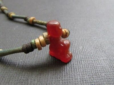 NILE  Ancient Egyptian Scribe Amulet Mummy Bead Necklace ca 600 BC