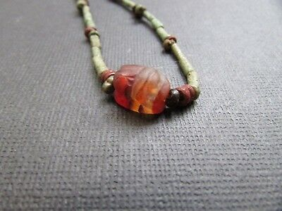 NILE  Ancient Egyptian Carnelian Scarab Amulet Mummy Bead Necklace ca 1000 BC