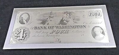 Historic Currency #6 Bank Of Washington Nc $4 Sterling Silver No Packaging (5495