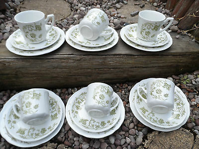 Beautiful Vintage J & G Meakin tea set white & Green decorative wingsong pattern