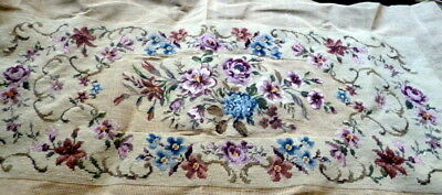 Vtg Xl Completed Flowers Pink Petit Point Needlepoint Bench Stool Cover Tapestry