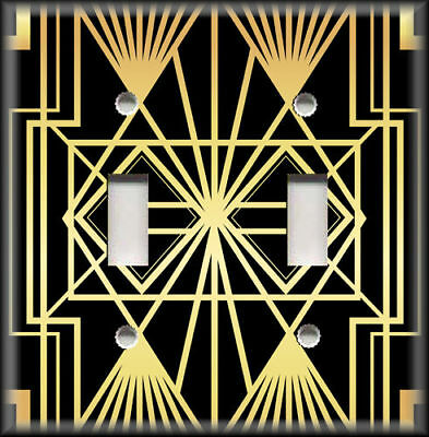 Metal Light Switch Plate Cover Art Deco Home Decor Black And Gold Art Decor 12