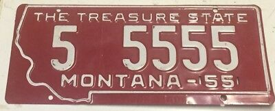 1955 Montana License Plate Prison Made Unused 5-5555 Red Helena Numerology Rare