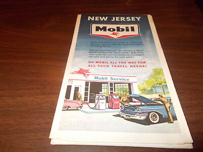 1963 Mobil New Jersey Vintage Road Map
