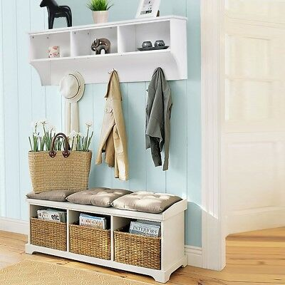 "48""Room Entryway Cubbie Wall Mounted Black/White Storage Shelf W/Hooks Home"
