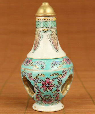 Rare China Old Jingdezhen Porcelain Hand Painting figure two floor snuff bottle