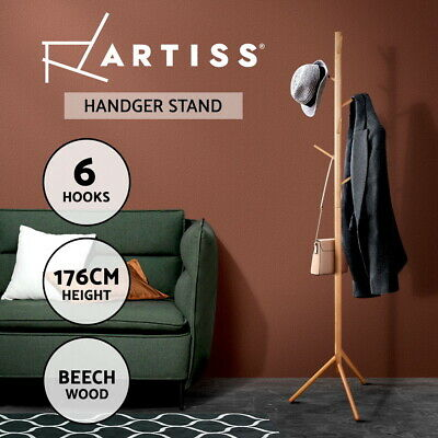 Artiss Wooden Coat Stand Rack Clothes Hanger 6 Hook Hat Jacket Bag 176cm Beige