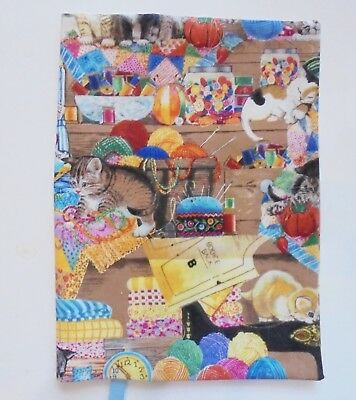 "FABRIC Hardback Book Cover Fits 6 1/2"" x 9 1/2"" Book Kittens in Sewing Room Cats"