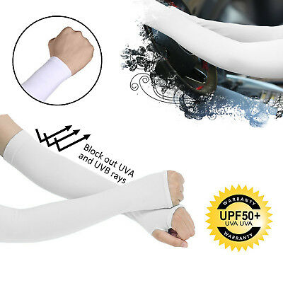 White Unisex UV Protection Arm Cooling Sleeves Ice Silk Arm Cover (1-10 lots)