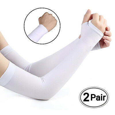 Cooling Arm Sleeves Cover UV Sun Protection Basketball Golf Athletic Sport 2Pair