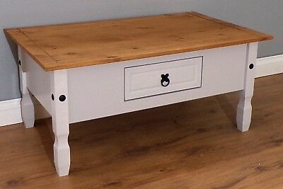 Corona Grey Painted Coffee Table with Drawer Livingroom by Mercers Furniture