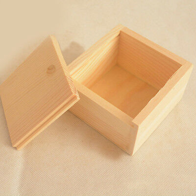 Simple Plain Wooden Necklace Jewelry Small Gadget Storage Box Case Gift US STOCK