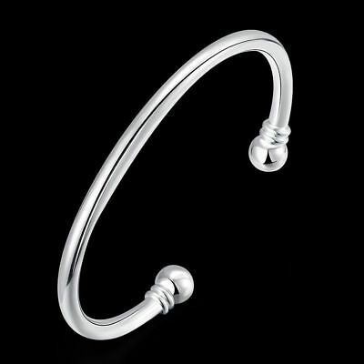 Fashion 925 Solid Silver Men Bright Round Bangles Bracelet Jewelry