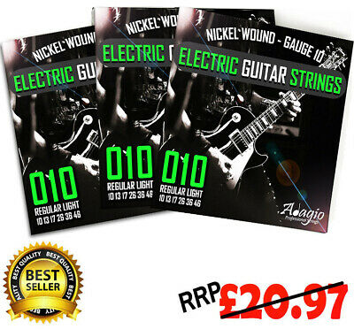 3 SETS of Adagio Electric Guitar Strings Gauge 10-46 + FREE Chord & Scale Chart