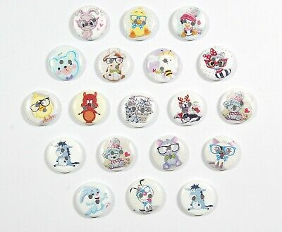 Various Printed Wooden Buttons - Unique Prints 20mm for crafting and sewing