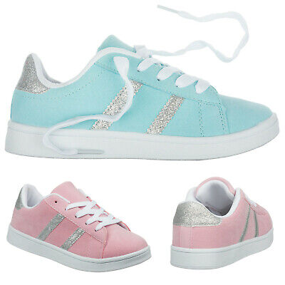 Girls Childrens Kids Trainers Size 10 to 2 UK - Pink or Sky Blue Pumps - 876C