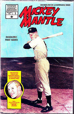 #1 vol 1 Mickey Mantle comic factory bagged w/ cards---D4