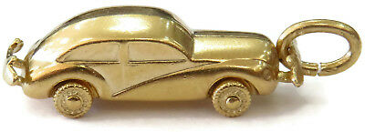 14k Yellow Gold Vintage Car Charm Necklace Pendant ~ 2.4g