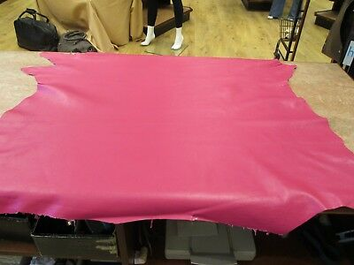 BEAUTIFUL SOFT Fuchsia Pink GENUINE Leather Skin , easy to work with FREE P & P.