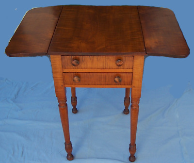 Nice Antique Drop Leaf Sheraton Tiger Maple Two Drawer Stand Approx 1785 - 1820