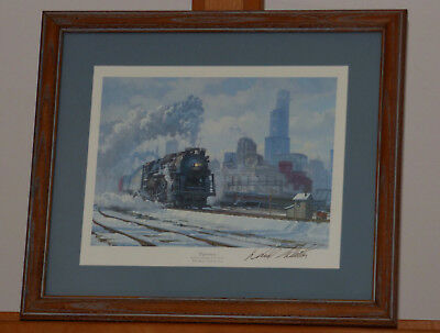 "David Tutwiler ""Departure"" Chicago Railroad Yard  Signed Print 1988 765 Engine"