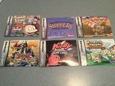 6 Nintendo Game Boy Advance  Instruction Manuals ONLY / KIRBY - THE SACRED CARS