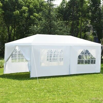 6Side Gazebo Tent Canopy Shelter Wedding Party Wall Sun Rain Shade White 10'x20'