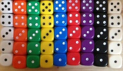 5 x 12mm D6 Dice Opaque, Ideal for Liar Liar, Perudo or Yathzee Pick color