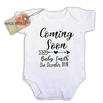 personalised coming soon baby your name date year  BABY VEST BOY/GIRL BODYSUIT
