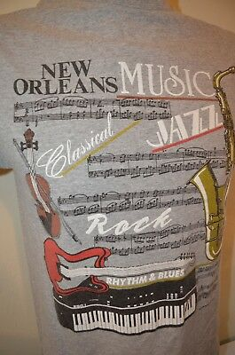 New Orleans 1988 Music Jazz Classical Rock R&B Piano Band S T-Shirt USA VTG 80s