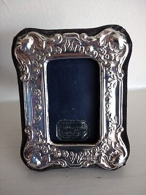 Miniature / Small Ornate Silver Hallmarked Picture / Photo Frame - London 1990