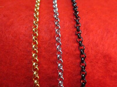 "4mm  16""-84"" STAINLESS STEEL  GOLD/SILVER/BLACK CROSS LINK  ROLO ROPE  NECKLACE"