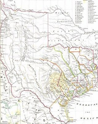 Genuine 174 years old Antique Map State of TEXAS and Comanches Territory 1844