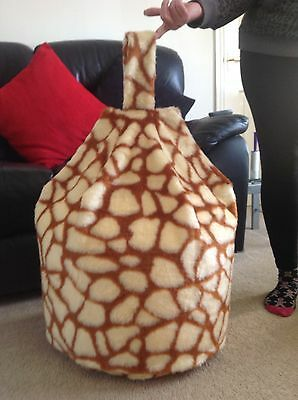 COVER ONLY Beanbag Faux Fur 3 Cubic Ft Size LUXURIOUS Children Giraffe New