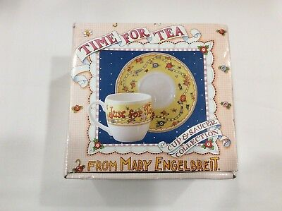 Nib Mary Engelbreit Cup & Saucer Just For Today Be Happy Time For Tea Collection
