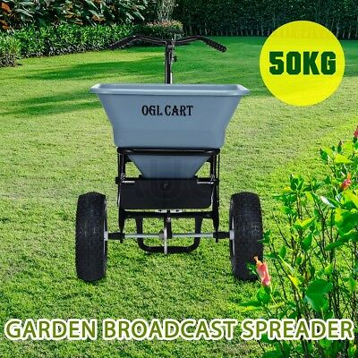 50kg Walk Tow Behind Broadcast Spreader Lawn Seed Fertilizer Farm Seeder - Grey
