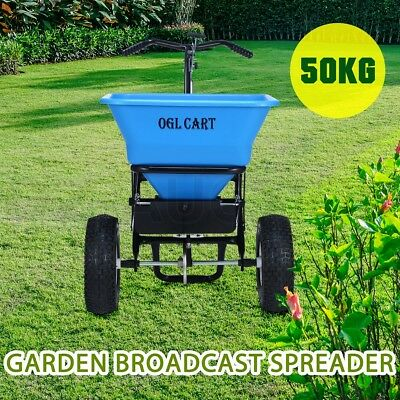 50kg Walk Tow Behind Broadcast Spreader Lawn Seed Fertilizer Farm Seeder - Blue