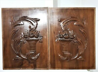 PAIR SCROLL LEAVES WOOD ART PANEL Antique french carving architectural salvage