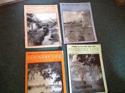4 Old Country Life Magazines - August,1945,December,1946, June And November,1949