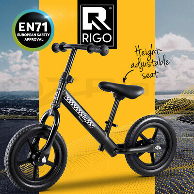 RIGO Kids Balance Bike Ride On Toys Puch Bicycle Wheels Toddler Baby Black Bikes