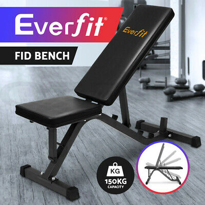 Everfit Adjustable Weight FID Bench Fitness Flat Incline Gym Home Steel Frame