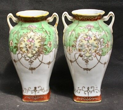 Pair of Antique Japanese Porcelain Baluster Vases Signed Early 1900s
