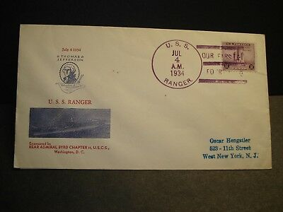 USS RANGER CV-4 Naval Cover 1934 INDEPENDENCE DAY Cachet