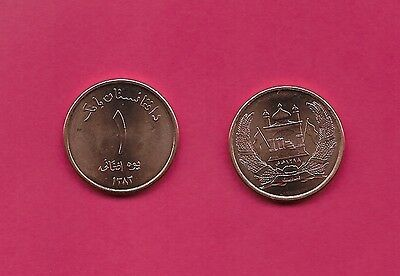 Afghanistan Rep 1 Afghani 2004 Unc Mosque With Flags In Wreath,value,legend Abov