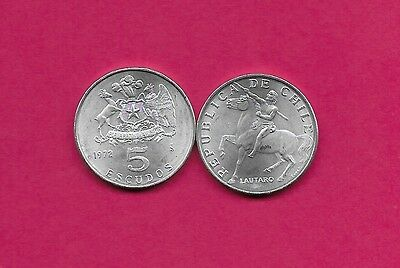 Chile Rep 5 Escudos 1972 Unc (Aluminum)Lautaro,araucanian Indian,upriser Against